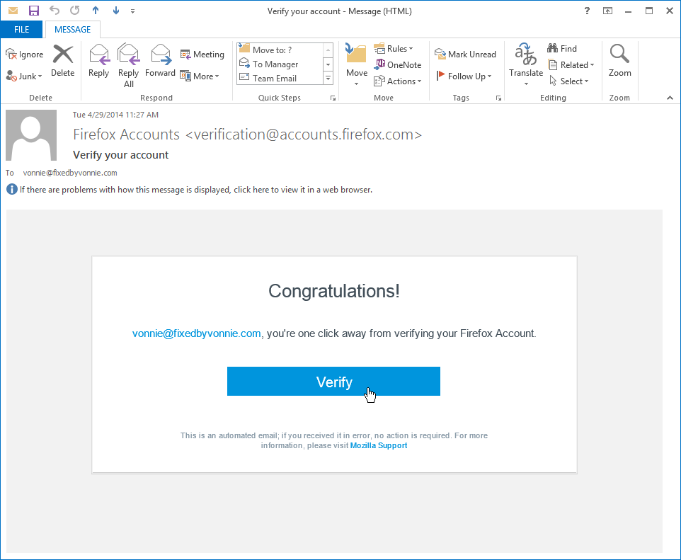 Click the blue Verify link but not from Outlook