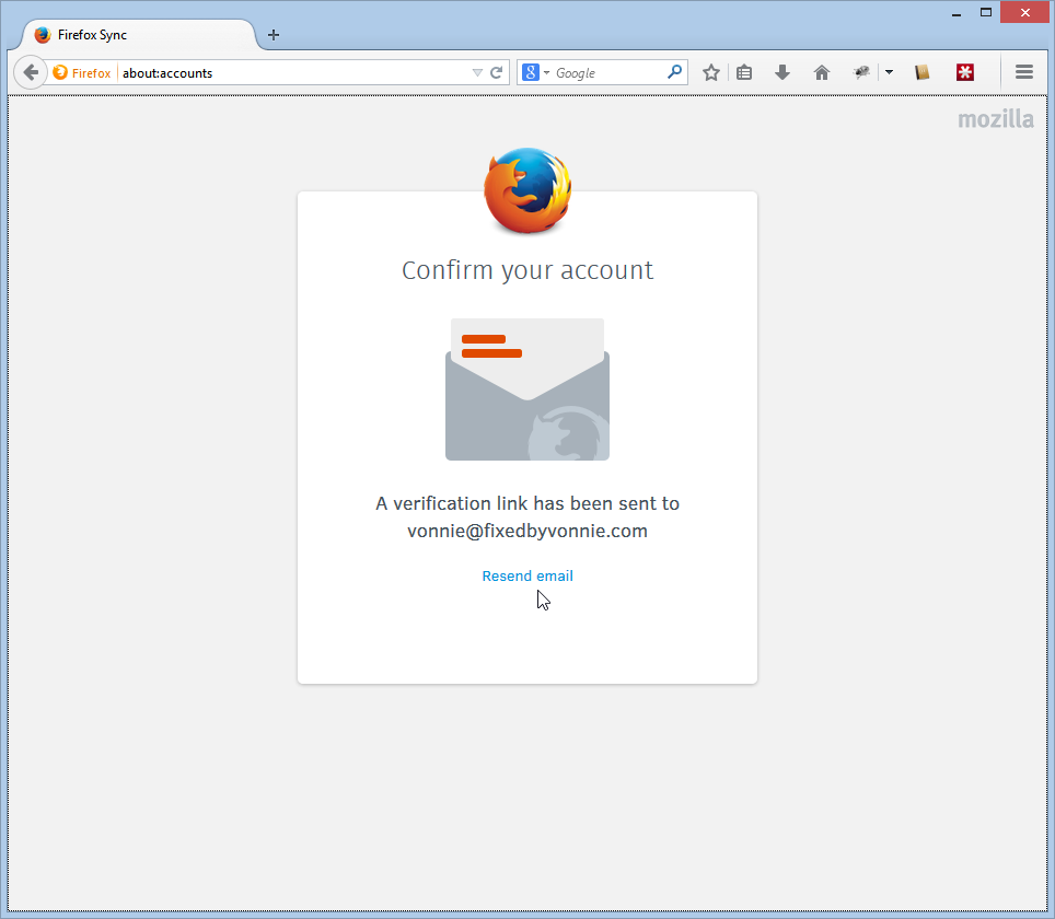 Check your email to verify your Firefox account