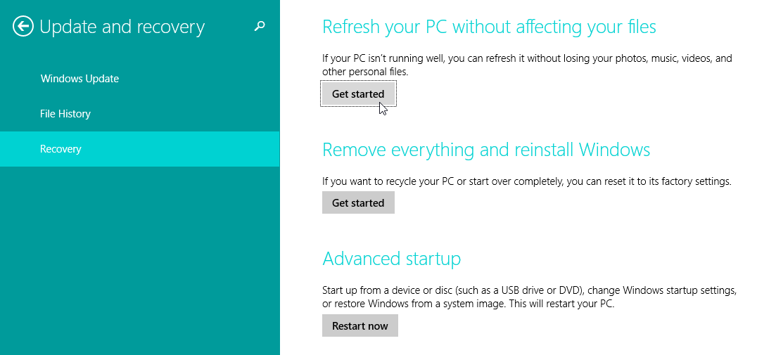 Refresh your Windows 8.1 PC