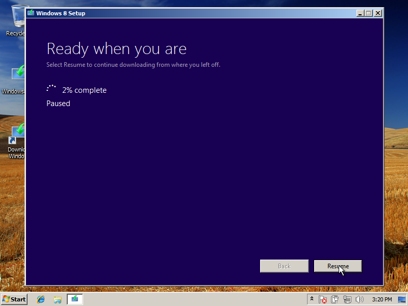 Pause the Windows 8 download at 2%