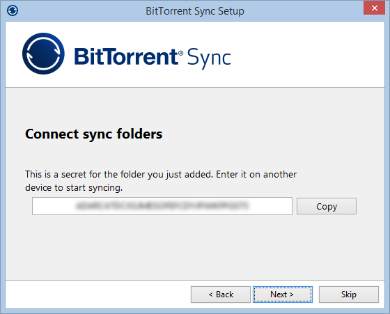 BitTorrent Sync Connect Sync Folders
