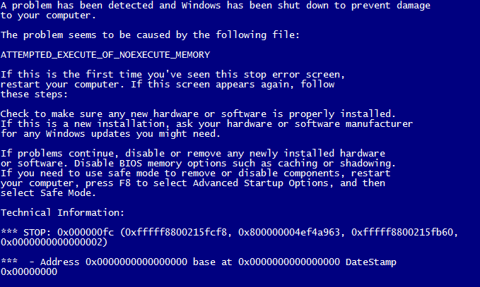 Blue Screen of Death Attempted Execute of No Execute