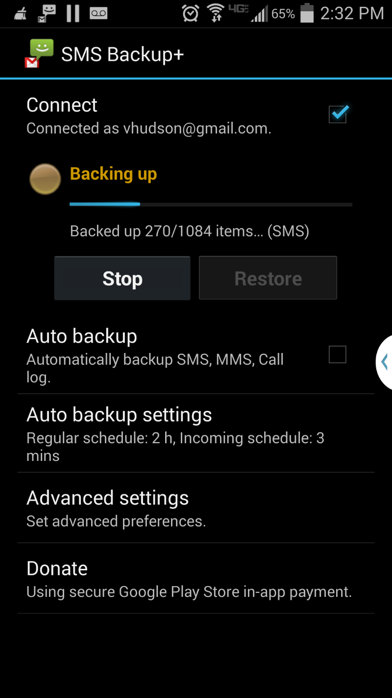 Backing up your SMS messages with SMS Backup Plus