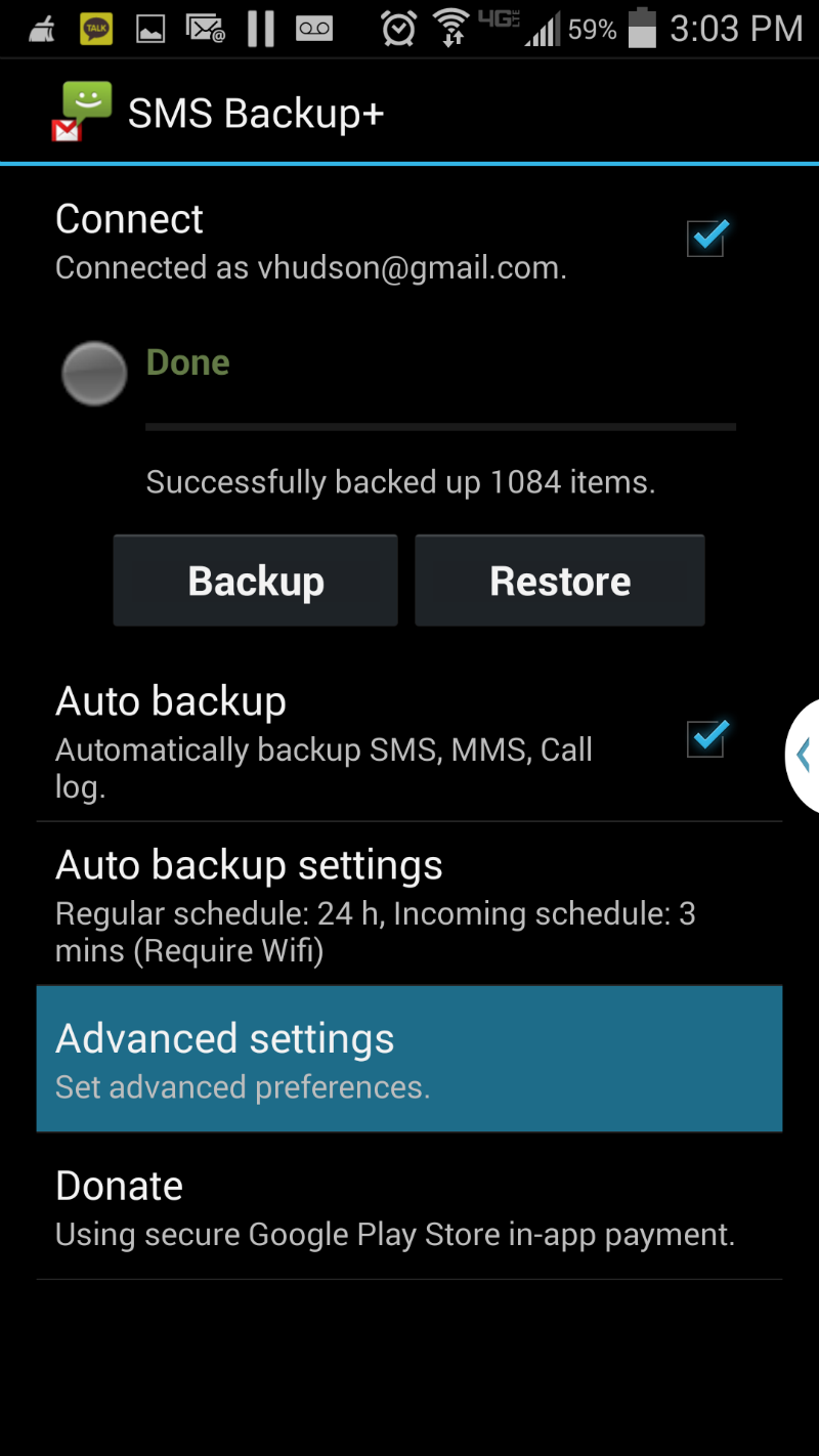 Samsung Galaxy S4 SMS Backup+ Advanced Settings