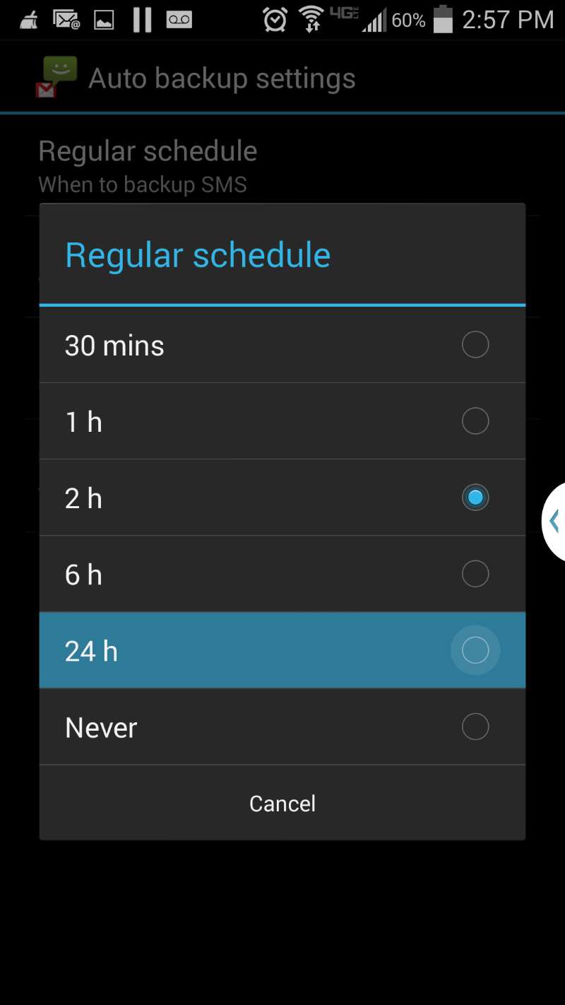 Change the Galaxy S4 Backup Schedule