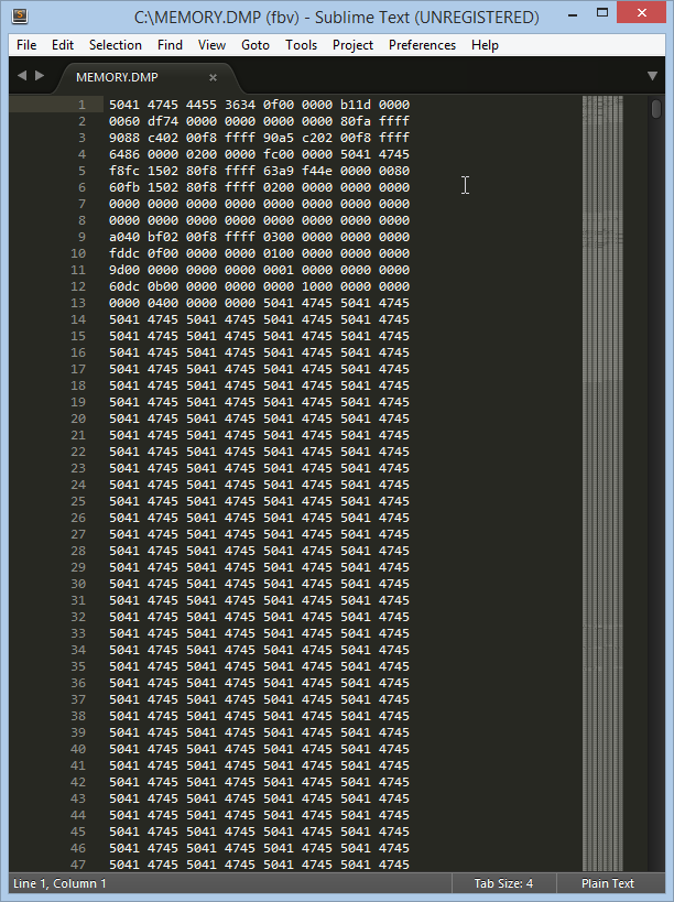 Trying to manually analyze the contents of the MEMORY.DMP file