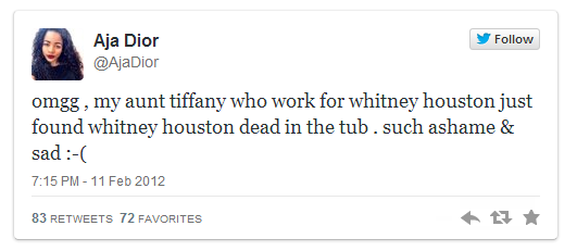 @AjaDior announced Whitney Houston's Death before AP