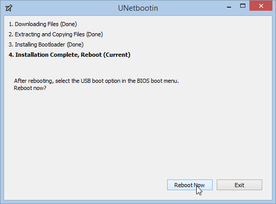 UNetbootin done