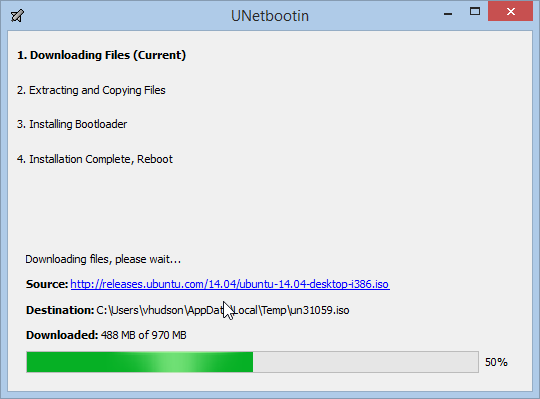 UNetbootin Downloading a Distro