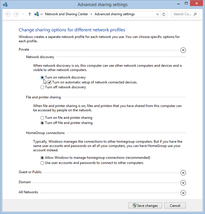 Windows 8.1 Advanced Sharing Network Discovery