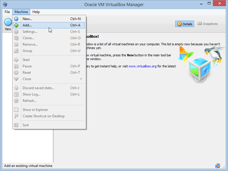 Add a new Virtual Machine to VirtualBox