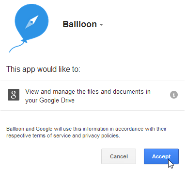 Ballloon permission to create files on Google Drive