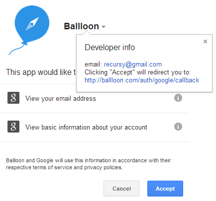 Ballloon permissions for Google Signin