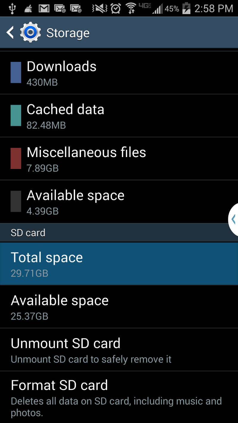 SD Card storage on your Galaxy S4