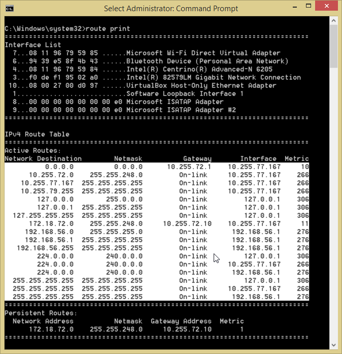 Route Print Windows 8.1 Routing Table