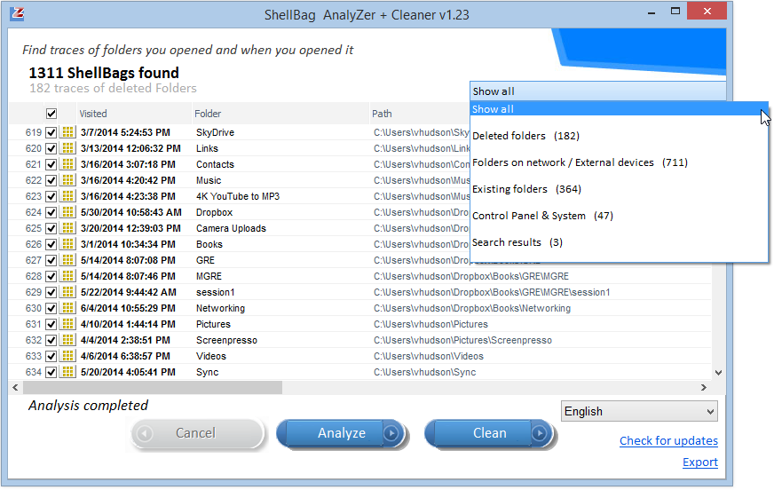 Windows Shellbag Analyzer and Cleaner