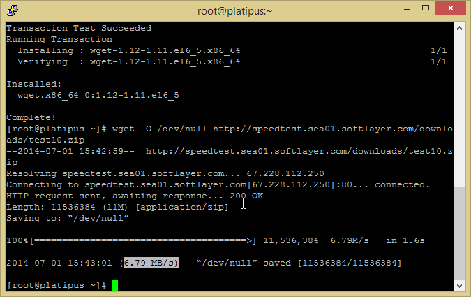 wget on linux for internet speed
