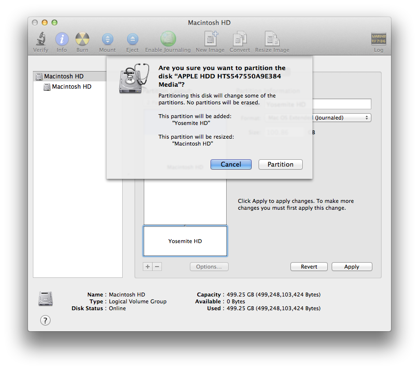 About to Partition a Hard drive in Mac OS X Mavericks