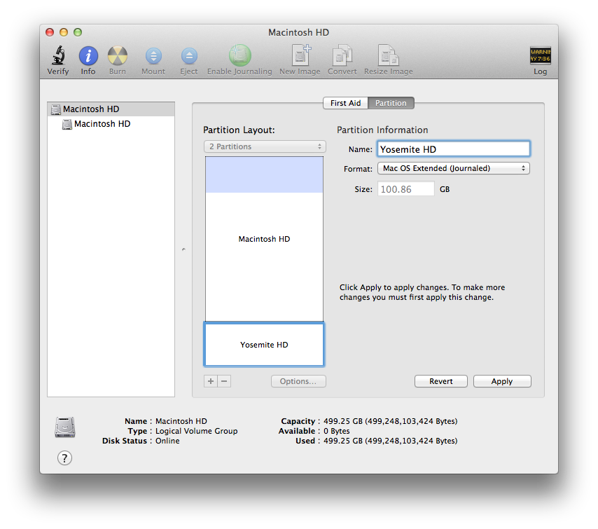 Mac OS X Mavericks Disk Utility Partitioning the Drive