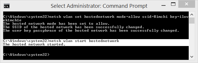 Use netsh wlan start hostednetwork