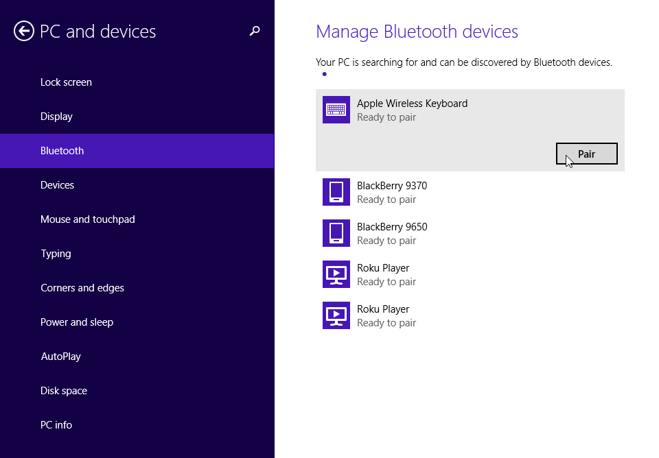 apple bluetooth settings in windows 8 1. Black Bedroom Furniture Sets. Home Design Ideas
