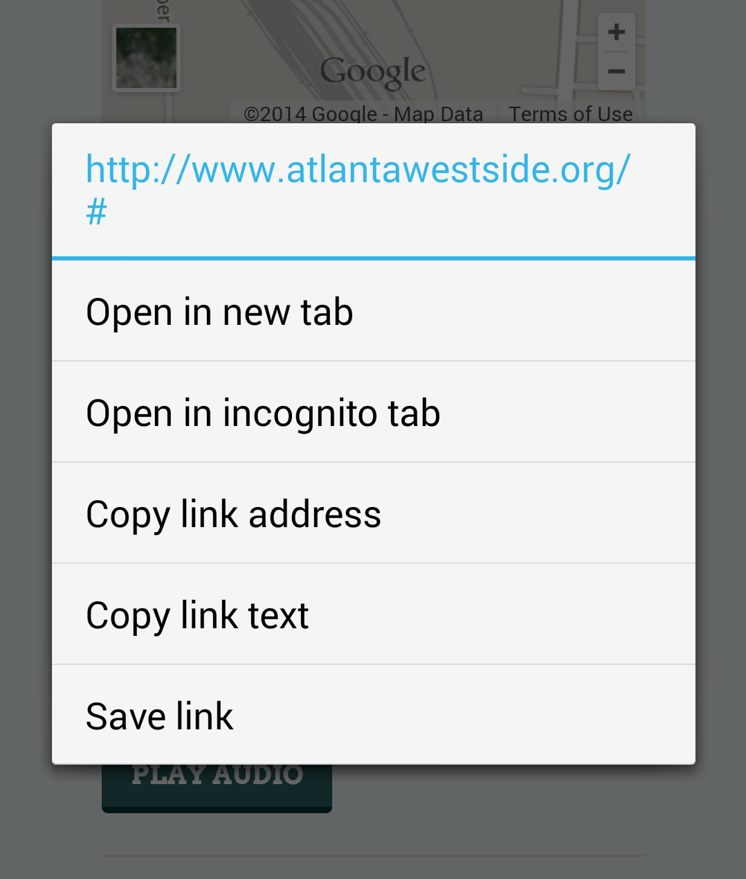 Trying to share a link on Chrome Mobile