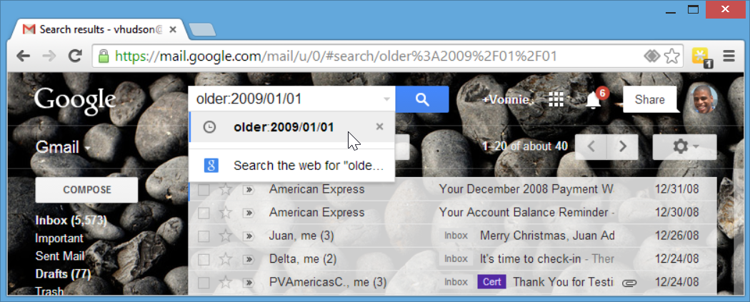 Using the Gmail older search operator