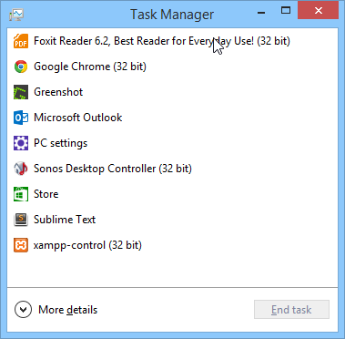 Task Manager shows applications with (32 bit)