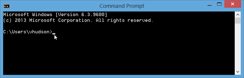 Windows 8.1 Command Prompt Home Screen