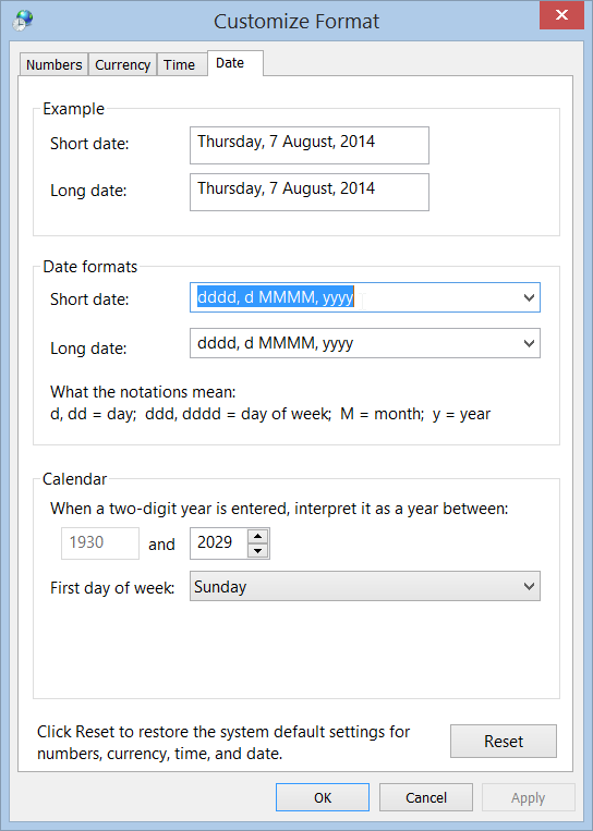 Date formats in Windows 8.1