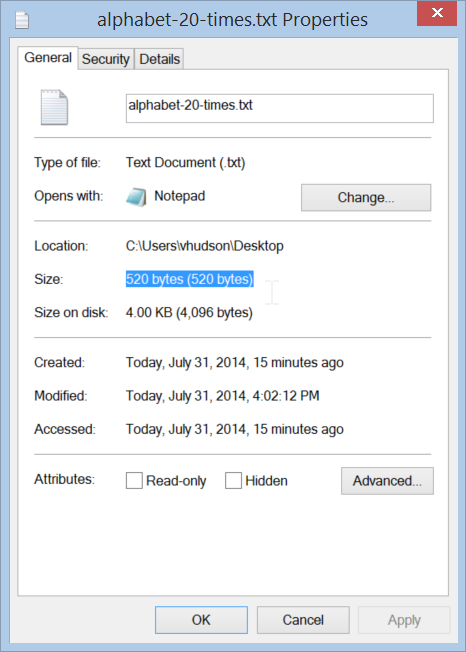 Understanding the file size and file size on disk