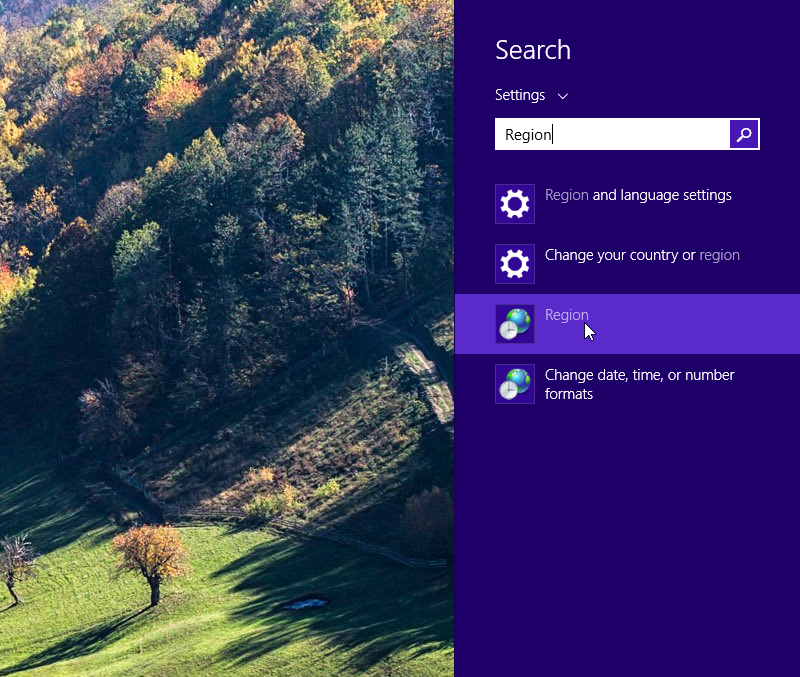 Windows 8.1 Region Settings
