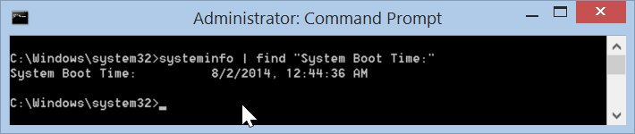 Windows 8.1 systeminfo find System Boot Time
