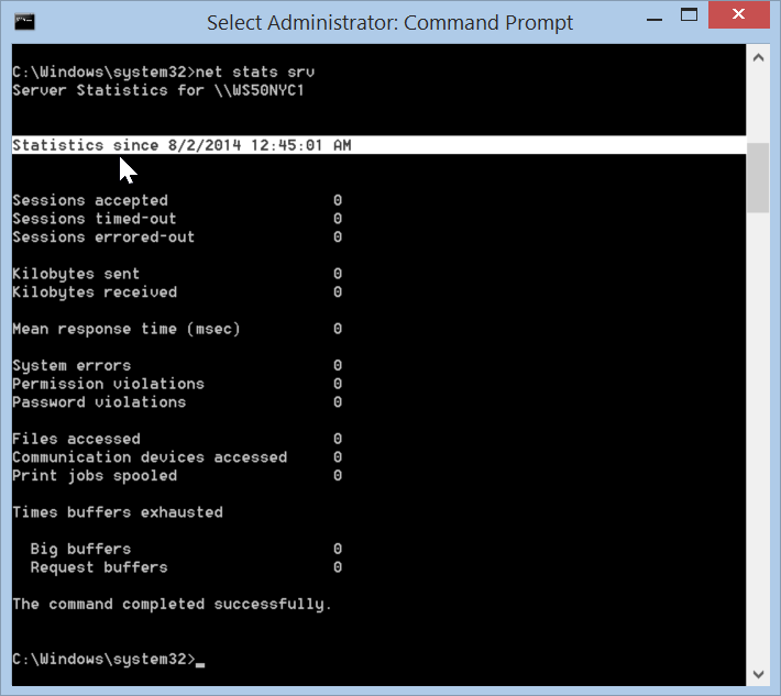 Windows 8.1 use net stats srv to get uptime