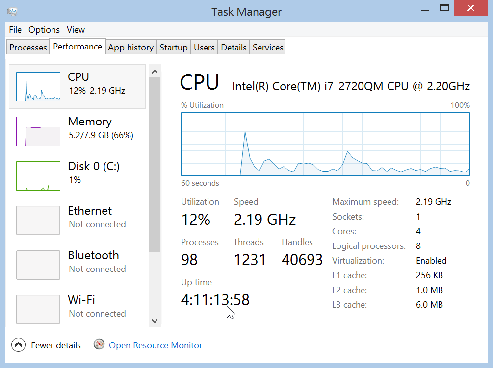 Windows 8.1 Uptime in Performance Tab