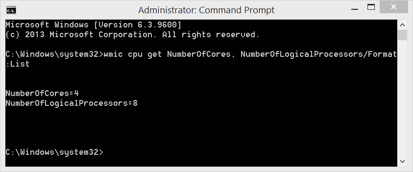 Windows 8.1 use WMIC to view number of cores