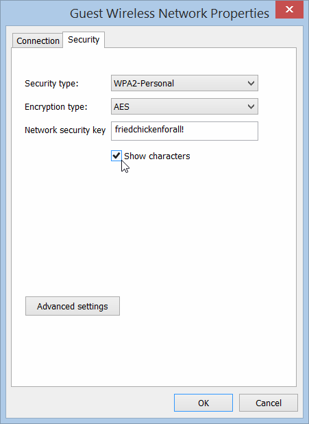 Wireless Network Security Properties in Windows 8.1