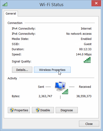 Windows 8.1 Wireless Properties