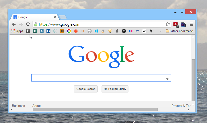 Google Chrome Bookmark Bar Slick