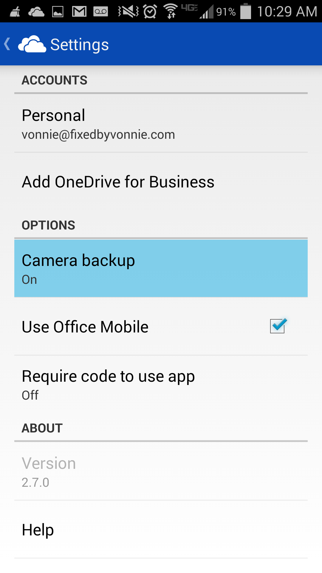 OneDrive camera backup is On