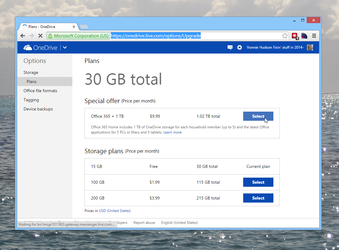 Onedrive Storage plans are quite reasonable