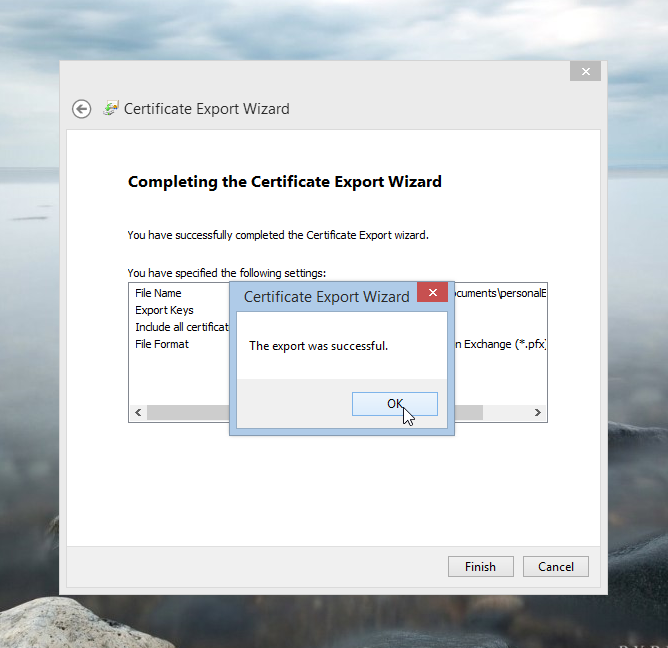 Certificate Export Wizard the export was successful