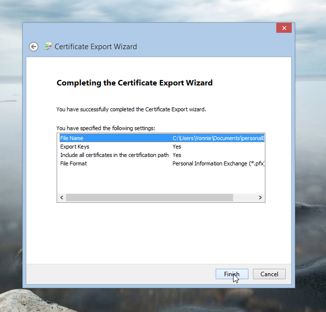Complete the Certificate Export Wizard