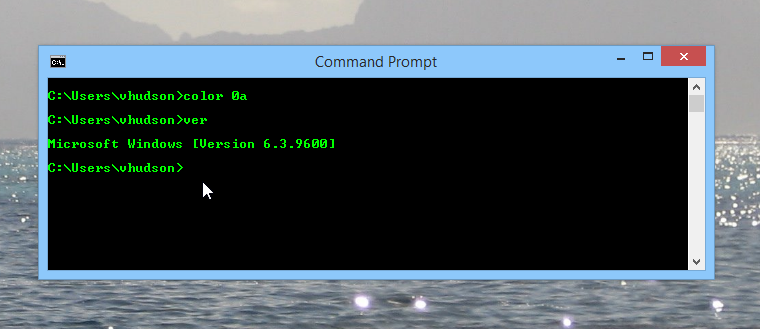 Changing the command prompt colors