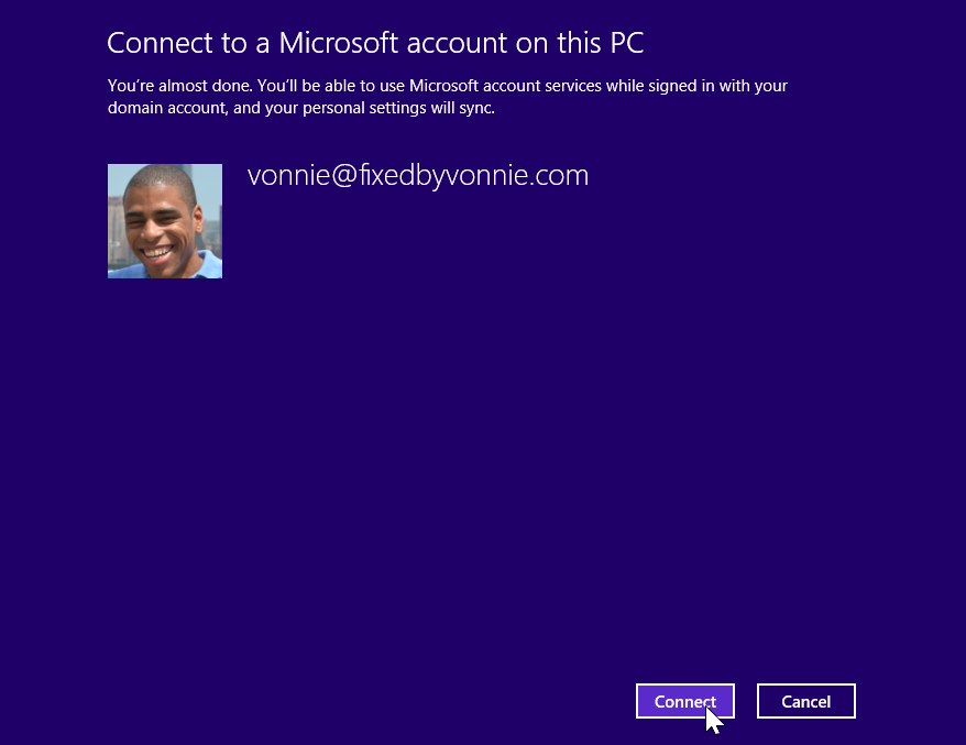 Connecting my Microsoft account to this PC
