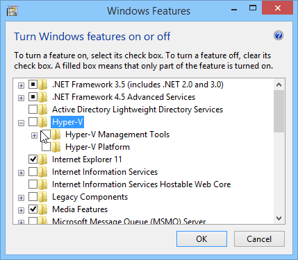 How to disable Hyper-V in Windows 8.1