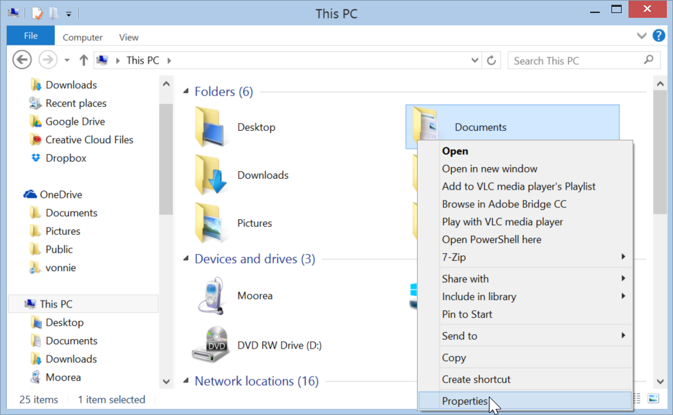 Windows 8.1 Document Library properties