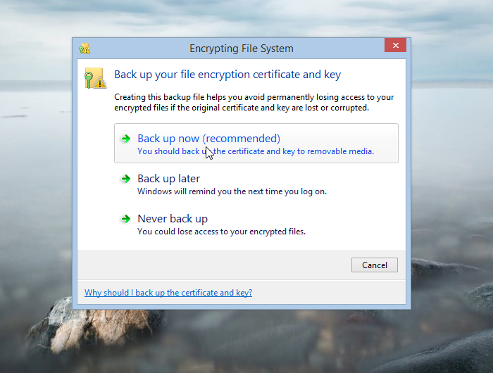 Encrypting File System key backup