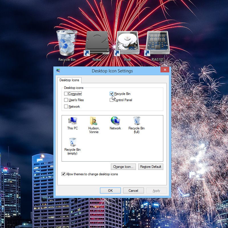 Hide the recycle bin in Windows 8.1