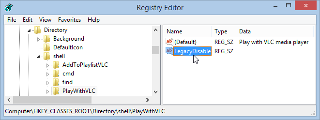 Windows 8.1 Registry Editor LegacyDisable